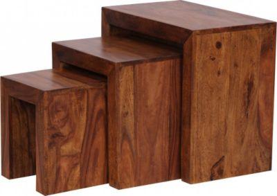 Möbel Campus Sheesham 3-teiliger Satztisch Massiv Beistelltisch Couchtisch Massivholz