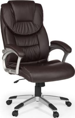 Möbel Campus Bürostuhl MADY Bezug Kunstleder Braun Schreibtischstuhl 120kg Chefsessel Design Drehstuhl mit XXL Polsterung