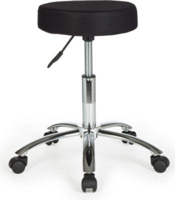 Möbel Campus Hocker LUDO Design Arbeitshocker Stoffbezug Schwarz Sitzhocker mit Rollen Rollhocker gepolstert ohne Lehne