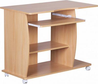 Möbel Campus Computertisch Buche mit Rollen 90 cm