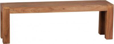 Möbel Campus Esszimmer Sitzbank Massiv-Holz Akazie 140 x 45 x 35 cm Holz-Bank Natur-Produkt Küchenbank im Landhaus-Stil