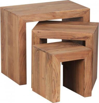 Möbel Campus Akazie 3-teiliger Satztisch Massiv Beistelltisch Massivholz