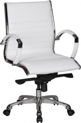 Möbel Campus Bürostuhl FRED 2 Bezug Echtleder Schreibtischstuhl Weiß X-XL 120 kg Chefsessel höhenverstellbar Drehstuhl