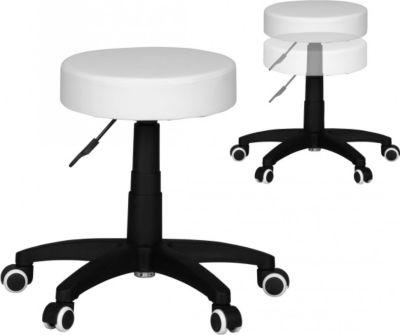 Möbel Campus Hocker LONDON Design Arbeitshocker Kunstleder Weiß Sitzhocker mit Rollen Rollhocker gepolstert ohne Lehne XL