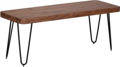 Möbel Campus FineBuy Esszimmer Sitzbank Massiv-Holz Akazie 120 x 45 x 40 cm Holz-Bank Natur-Produkt Küchenbank im Landhaus-Stil