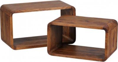 Möbel Campus Sheesham Massivholz Satztisch Beistelltisch 2er Set Cubes Würfelregal