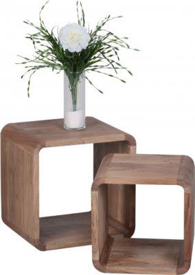 Möbel Campus Massivholz Akazie Satztisch Beistelltisch 2er Set Cubes Würfelregal