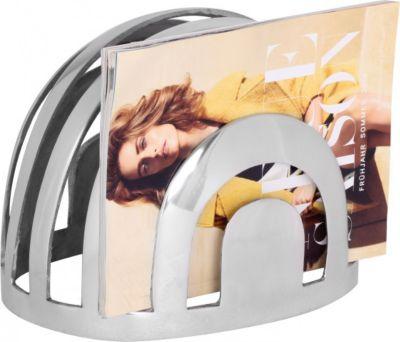 Möbel Campus Design Deko Zeitungsständer in Silber Zeitungshalter aus Aluminium