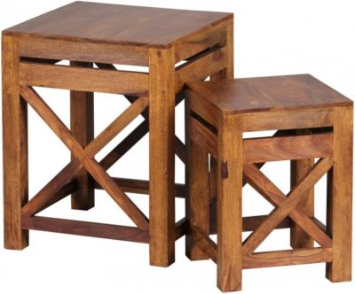Möbel Campus Sheesham Massivholz Beistelltische 2er Set Satztisch 40 x 40 cm