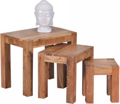 Möbel Campus 3-teiliger Satztisch Akazie Massivholz Beistelltisch