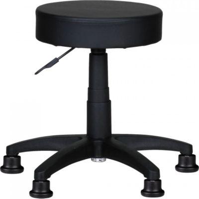Möbel Campus Hocker LUIS Design Arbeitshocker Kunstleder Schwarz Sitzhocker Bodengleiter Rollhocker gepolstert ohne Lehne