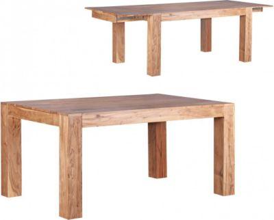 Möbel Campus Esstisch Massivholz Akazie 160 - 240 cm ausziehbar Esszimmer-Tisch Design Küchentisch Landhaus-Stil Holztisch