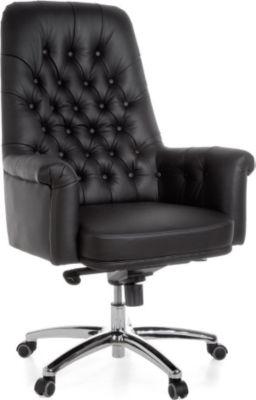 Möbel Campus Bürostuhl HIGHBOY Echtleder Schwarz Schreibtischstuhl X-XL Multiblockmechanik Chefsessel Kopfstütze Drehstuhl