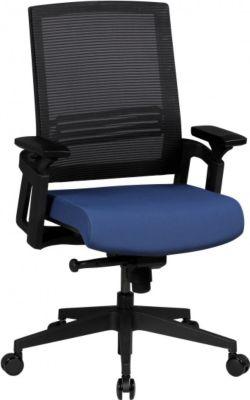 Möbel Campus Bürostuhl OTTO 2 Stoffbezug Schreibtischstuhl Armlehne blau Chefsessel 120kg Drehstuhl Synchronmechanik XXL