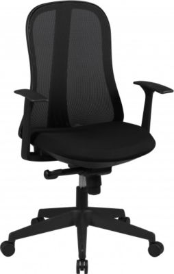 Möbel Campus Bürostuhl COOL Stoffbezug Schwarz Schreibtischstuhl Design Chefsessel Drehstuhl Synchronmechanik & Armlehne