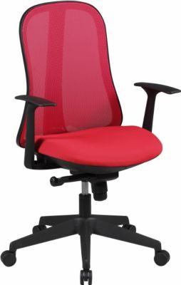 Möbel Campus Bürostuhl COOL Stoffbezug Rot Schreibtischstuhl Design Chefsessel Drehstuhl Synchronmechanik & Armlehne