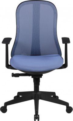 Möbel Campus Bürostuhl COOL Stoffbezug Blau Schreibtischstuhl Design Chefsessel Drehstuhl Synchronmechanik & Armlehne
