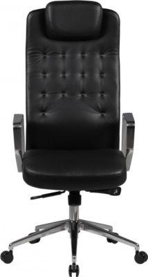 Möbel Campus Bürostuhl Eden Echtleder schwarz Schreibtischstuhl Chesterfield-Design Chefsessel mit Kopfstütze Drehstuhl