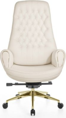 Bürostuhl CAESAR Echtleder Weiß Schreibtischstuhl 150 kg Synchronmechanik Chefsessel Kopfstütze Drehstuhl