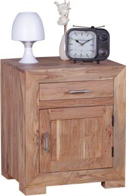 Möbel Campus Nachttisch Massivholz Akazie Design Nachtkommode 60 cm Schublade und Tür Nachtschrank für Boxspringbett