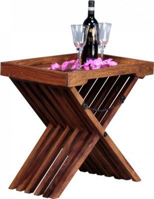 Möbel Campus Beistelltisch Massivholz Sheesham Design Klapptisch Serviertablett und Tisch-Gestell klappbar Landhaus-Stil