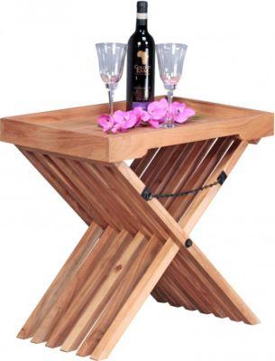 Möbel Campus Beistelltisch Massivholz Akazie Design Klapptisch Serviertablett und Tisch-Gestell klappbar Landhaus-Stil