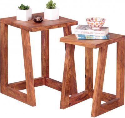 Möbel Campus 2er Set Beistelltisch Massivholz Sheesham Design Wohnzimmer-Tisch eckig Nachttisch Satztisch Landhaus-Stil