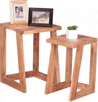 Möbel Campus 2er Set Beistelltisch Massivholz Akazie Design Wohnzimmer-Tisch eckig Nachttisch Satztisch Landhaus-Stil