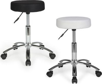 Amstyle AMSTYLE Hocker LEON Design Arbeitshocker Stoffbezug Schwarz Sitzhocker mit Rollen Rollhocker gepolstert ohne Leh