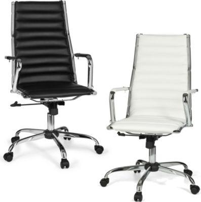 Amstyle AMSTYLE Bürostuhl GENF 1 Bezug Kunst-Leder Schreibtischstuhl Weiß X-XL 110 kg Chefsessel höhenverstellbar Drehst