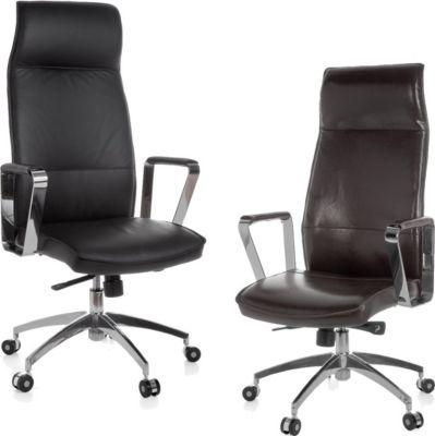 Amstyle AMSTYLE Bürostuhl Verona Echtleder Schwarz Schreibtischstuhl X-XL 120 kg Synchronmechanik Chefsessel Kopfstütze