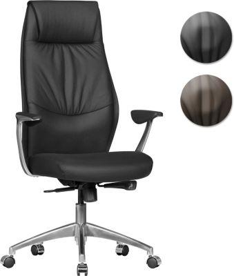 AMSTYLE Bürostuhl OXFORD 1 Echtleder Braun Schreibtischstuhl X-XL 120 kg Synchronmechanik Chefsessel Kopfstütze hoch