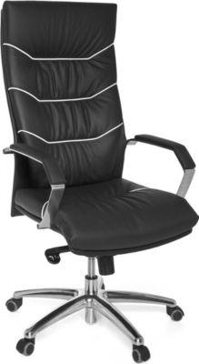 AMSTYLE Bürostuhl FERROL Echt-Leder schwarz Schreibtischstuhl Chefsessel mit Kopfstütze & Multiblockmechanik Design Dreh