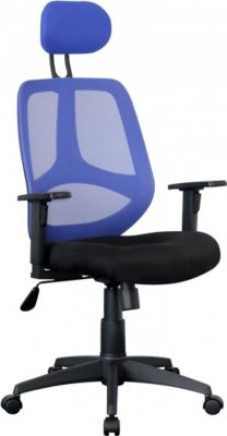 Amstyle AMSTYLE Bürostuhl FLORENZ 2 Stoffbezug Blau Schreibtischstuhl 120kg Armlehne Chefsessel Drehstuhl Kopfstütze XXL