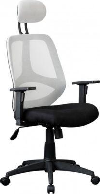 AMSTYLE Bürostuhl FLORENZ 2 Stoffbezug Weiß Schreibtischstuhl 120kg Armlehne Chefsessel Drehstuhl Kopfstütze XXL ergo