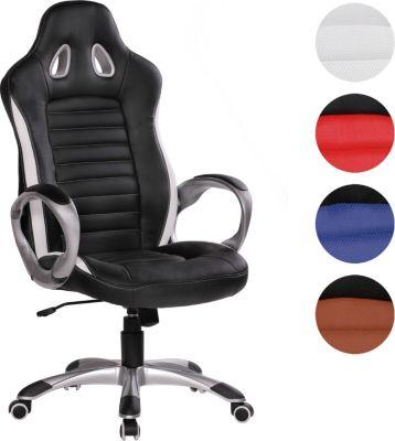 AMSTYLE Bürostuhl RACER Weiß Gaming Chefsessel Racing Drehstuhl 120kg Synchronmechanik Race Schreibtischstuhl