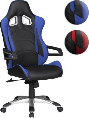 AMSTYLE Bürostuhl SPEED Blau Racing Chefsessel Racer Drehstuhl 110kg Synchronmechanik Schreibtischstuhl