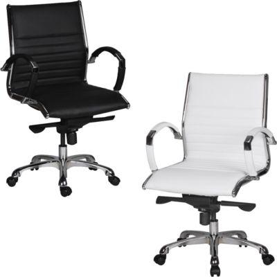 Amstyle AMSTYLE Bürostuhl SALZBURG 2 Bezug Echtleder Schreibtischstuhl Schwarz XXL 120kg Chefsessel höhenverstellbar Dre