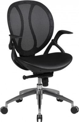 Amstyle AMSTYLE Bürostuhl SHAPE 1 Bezug Kunstleder Schwarz Schreibtischstuhl Chefsessel Drehstuhl Synchronmechanik & Arm