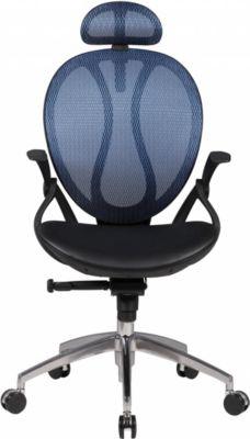Amstyle AMSTYLE Bürostuhl SHAPE 2 Kunstleder-Bezug Schreibtischstuhl Armlehne blau Chefsessel 120 kg Drehstuhl Kopfstütz