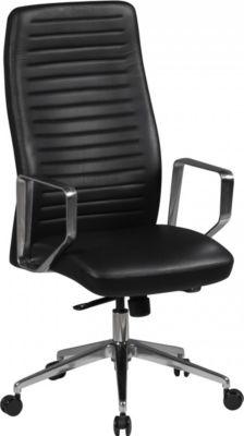 AMSTYLE Bürostuhl Atlanta Echtleder Schwarz Schreibtischstuhl verstellbar Chefsessel Drehstuhl mit Synchronmechanik