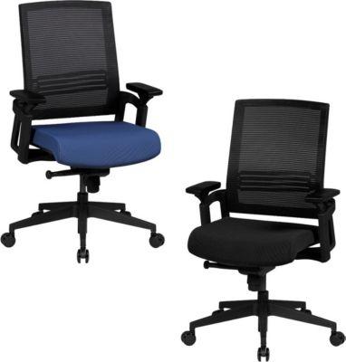 AMSTYLE Bürostuhl APOLLO A2 Stoffbezug Schreibtischstuhl Armlehne blau Chefsessel 120kg Drehstuhl Synchronmechanik XXL