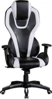Amstyle AMSTYLE Bürostuhl AVENTASPORT Bezug Kunstleder Schwarz / Weiß Schreibtischstuhl Chefsessel Drehstuhl Synchronmec
