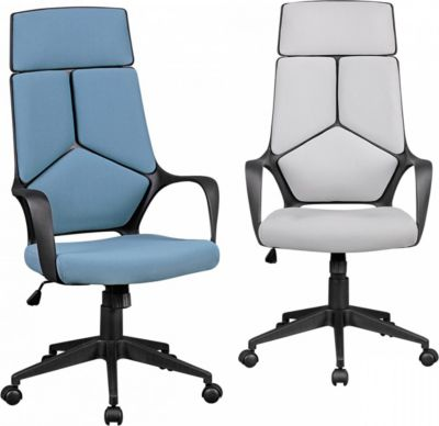AMSTYLE Bürostuhl TECHLINE Stoffbezug Hellgrau Schreibtischstuhl Design Chefsessel Drehstuhl Wippmechanik & Armlehne