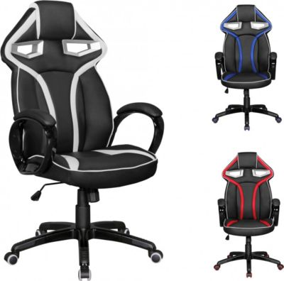 AMSTYLE Bürostuhl GameStar Leder Optik Schwarz / Weiß Schreibtischstuhl Chefsessel Gaming Chair Drehstuhl Sport Racing Optik