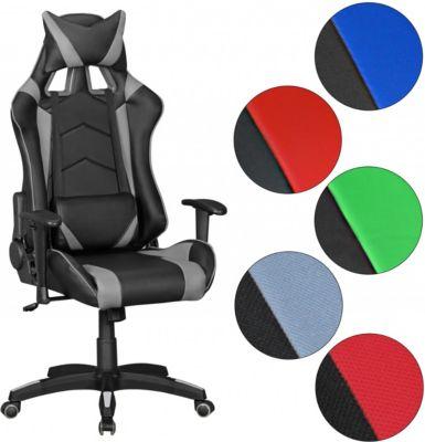 Amstyle AMSTYLE® Bürostuhl SCORE Leder-Optik Schwarz / Rot Schreibtischstuhl Chefsessel Gaming Chair Drehstuhl Sport Rac