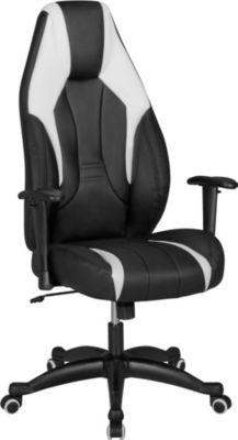 AMSTYLE Racing Bürostuhl VEGAS mit Armlehnen & Kopfstütze Schwarz Schreibtischstuhl in Leder Optik Gaming Stuhl im Racer Chair  Chefsessel