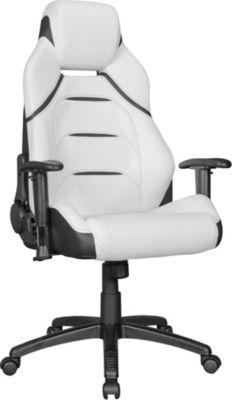 AMSTYLE Bürostuhl MasterGamer Racing Chefsessel Rückenlehne 175° verstellbar Drehstuhl bis 120 KG Schwarz Weiß Schreibtischstuhl mit Kopfstütze Race-r Gaming Stuhl