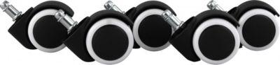 AMSTYLE 5er Set gebremste Rollen für Bürostuhl Schwarz/ Weiß 11mm/Durchmesser 50mm Hartbodenrollen Drehstuhlrollen