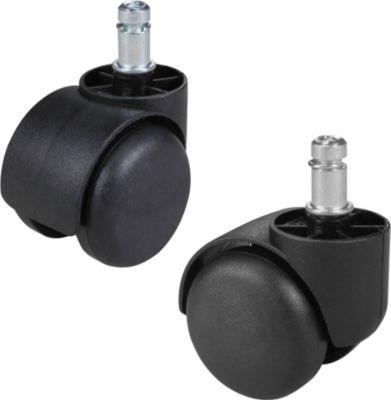 Amstyle AMSTYLE 5er Set gebremste Rollen für Bürostuhl Schwarz Stift 11mm/Durchmesser 50mm Weichbodenrollen Drehstuhlrol
